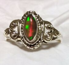 Rare Natural Chalama Black Opal Ring 925 Sterling Silver Size 8.5 🌹See Photos!