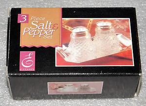 Elegance 3 Piece Salt Pepper Set Silver Tray 4x2.25 Table Service 1.5 Inch High