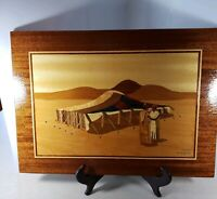 Vintage Marquetry Wooden Inlay Picture Wall Art Signed by Artist