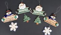 Christmas Santa & Snowman 2 Piece Hanging Ornaments - Set Of 4