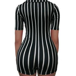 Womens Deep V Neck Jumpsuit Short Sleeve Striped Summer Clubwear Playsuit