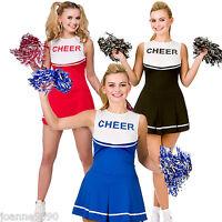 Ladies High School Cheerleader Schoolgirl Pom Sports Uniform Fancy Dress Costume