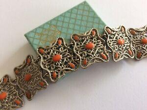 Vintage Jewellery Beautiful Silver Tn Filigree Coral Enamel Panel Link Bracelet