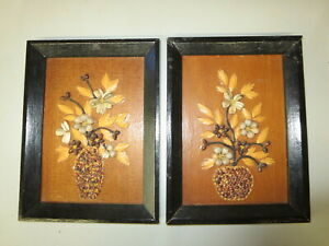 Vintage Pair Handmade Folk Art Seed Pod Artwork Planted Pots Framed