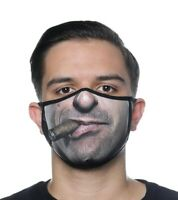 NEW CIGAR FACE FUNNY MASK COVER REUSABLE WASHABLE WATERPROOF FABRIC MADE IN USA