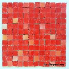 KER-AV Feinsteinzeug Mosaikfliese L114 Rosso Vermiglio Rot mit Glitzer 30x30cm