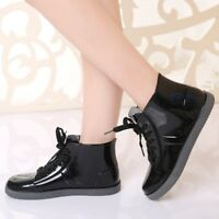 Womens Solid Color Short Rain Boots Rubber Waterproof Casual Ankle Shoes Outdoor