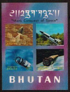 BHUTAN -souvenir sheet   1970 Conquest of Space   minisheet 3D    -  no.2223