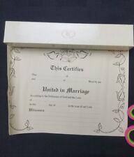 Vintage Wedding Certificate New