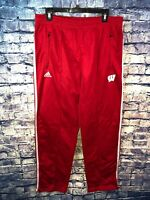 Adidas Wisconsin Badgers Track Pants Size L Red Team Issued Free Shipping Look🔥