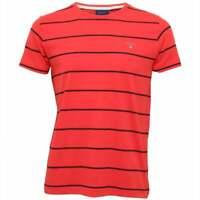 Gant Breton Stripe Crew-Neck Men's T-Shirt, Watermelon Red
