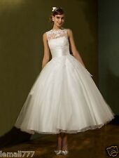 New Classic Lace A-line Short Wedding Dress White Ivory Bridal Gown Size 6-18