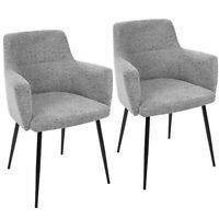 OPEN BOX Andrew Contemporary Dining/Accent Chair in Black with Grey Fabric-Se...
