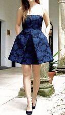 ZARA Navy Blue Black Strapless Brocade Tulip Structured Dress L 12 14 NEW