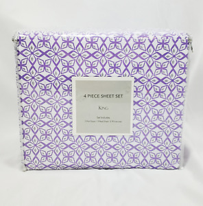 Purple & White 4-Piece Sheet Set, King - Flat & Fitted Sheets Pillowcases