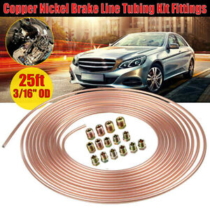"""OD 3/16"""" Copper Nickel Brake Line Kit 25ft Coil Rolls w/16Pieces Nuts Fittings"""