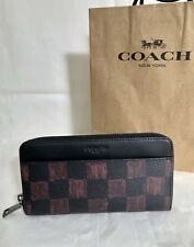 NWT Coach F22542 Men's Accordion Oxblood Graphic Checker PVC Leather Wallet $250