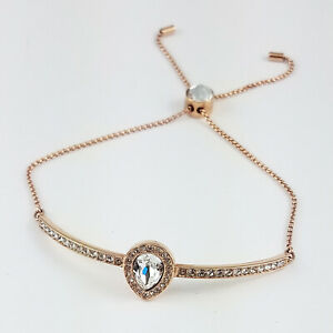 Swarovski Genuine Rose Plated Pear Shape Bangle Chain Bracelet Adjustable NWB