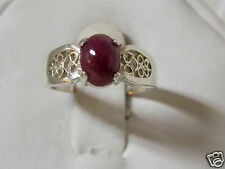 1.50ct NATURAL red ruby filigree 925 sterling silver ring size 9.5 USA made