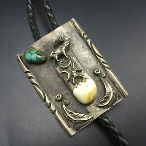 SPECTACULAR Vintage NAVAJO Sterling Silver TURQUOISE Elk Tooth BOLO Tie