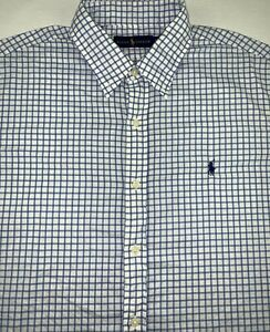 Polo Ralph Lauren Blue Check Button Down Shirt Mens XL Long Sleeve