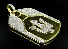 Hombres Plata De Ley Acabado De Oro Amarillo Diamante Auténtico Maserati