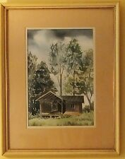 Architectural Watercolor Painting Cabin Signed D. Johnson Listed American USA