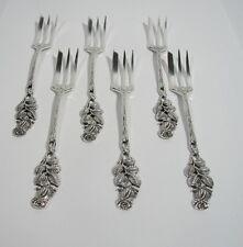 Set  Kuchengabeln feines Rosendekor 800er Silber Halbmond Krone