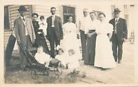 Four Children and Eight Adults Real Photo Postcard rppc