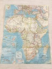 1960 Vintage Map of Africa The African Continent Original National Geographic