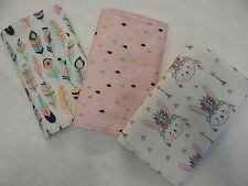 Handmade Pink Tribal Bunnies Burp Cloths x 3 Toweling Backed - 100% Cotton