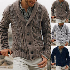 Men's Knitted Thick Shawl Collar Single Breasted Cable Knitwear Cardigan Sweater
