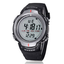 Vente flash étanche Sports de plein air Hommes DEL Digital Quartz Alarme Bracelet Montre UK