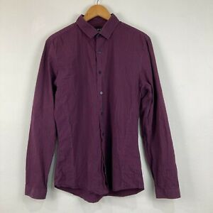 Topman Mens Button Up Shirt Size L Large Slim Fit Check Long Sleeve Collared