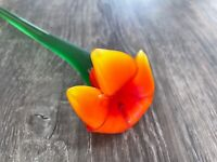 """ART GLASS Hand Blown Frosted Orange Lily LONG STEM GLASS FLOWER 19.5"""""""