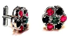 925 Sterling Silver Fine quality Natural Ruby, Emerald & Sapphire New Cuff link
