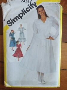 Simplicity 6017 two piece dress with top skirt sewing pattern size 8 retro 1980s