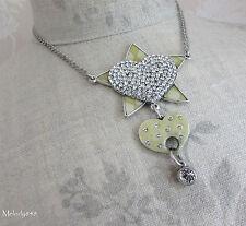 Vintage Danish PILGRIM Necklace Silver/Cream/Clear Swarovski HEART Star KEY BNWT
