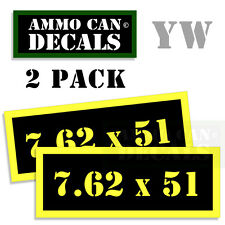 7.62 X 51 Ammo Can Box Decal Sticker bullet ARMY Gun safety Hunting 2 pack YW