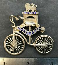 Puerto Rico ca1890-1900s Ponce, Sterling Silv. Honorario Club Ciclismo, Brooch
