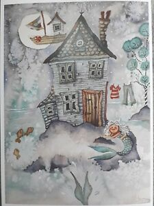 ORIGINAL ARTWORK PRINT MERMAID FLYING BOAT LITTLE HOUSE MOON SIGNED A4 PRINT