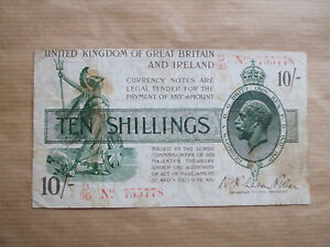 BANK  OF  ENGLAND   10  SHILLING   NOTE, FISHER  1919.