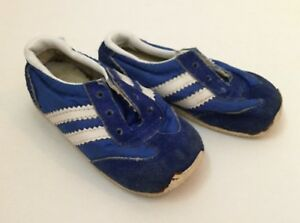 Vintage Baby Sneakers 70s 80s Shoes Size 4 Blue Suede White Leather Stripes