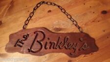 The Binkley's Wood Sign Handmade County art Bar Address Business Primitive