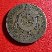 #1590 - RARE - Louis XVI 1 Sol aux balances 1793 BB Strasbourg - FACTURE