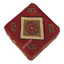 Indian Kilim Wool Jute Home Decor Cube Floor Pouf Cover Handmade Garden Footrest
