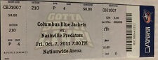 2011 Columbus Blue Jackets Opening Night Ticket 10/7/11 vs Nashville Predators