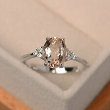 2.15 Ct Oval Cut Morganite Diamond Engagement Ring 14K Solid White Gold Size N O