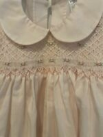 Vintage Nursery Rhyme Baby Girl Dress 6 Months pink embroidery smocked white EUC