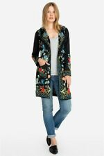 Johnny Was Zia Embroidered Hooded Duster Flower Black Multi Jacket LARGE L New
